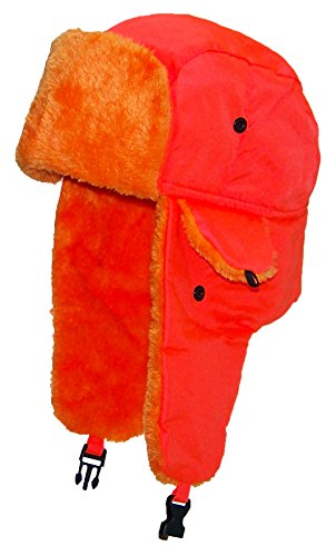 Best Winter Hats Lightweight Neon Russian/Trooper Faux Fur Hat(One Size)-Orange