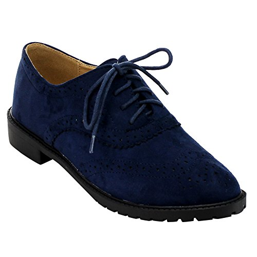 FOREVER+GD61+Women%27s+Lace+Up+Low+Chunky+Heel+Casual+Oxford+Shoes%2C+Color%3ANAVY%2C+Size%3A6