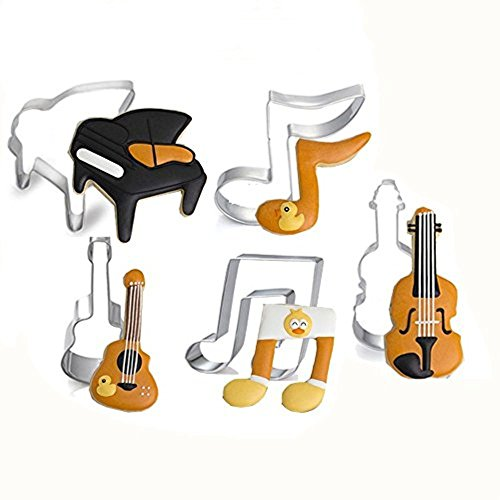 DOOGA Cookie Cutters Set-Music Stainless Steel Music Cookie Cutter Set with 5 Pieces of Cookie Press Biscuit Mould Including Piano Biscuit Press, Violin Cookie Mould, Musical Notes (5PCS Muisc)