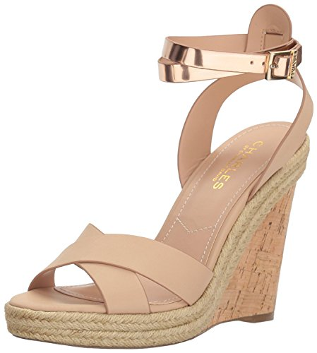 Charles by Charles David Womens Brit Open Toe Casual, Nude/Gold, Size 5.0