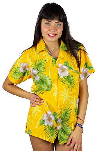 V.H.O. Funky Hawaiian Blouse Shirt, Small Flower, Yellow, 3XL