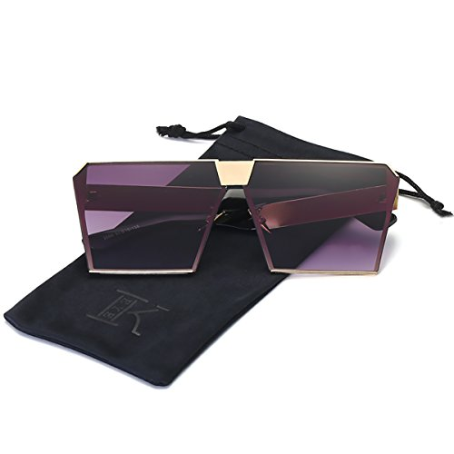 - LKEYE - Unique Oversize Shield Vintage Square Sunglasses LK1705 Gold Frame/Double Gray Lens