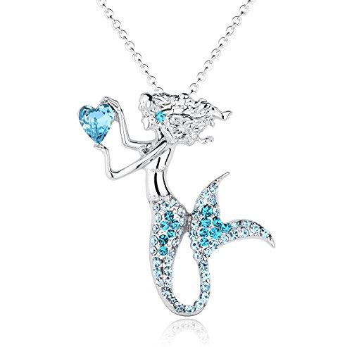 luomart Fashion Mermaid Birthstone Necklace Jewelry White Gold Plated Austrian Crystal Magic Pendant Gift (Aqua) ()