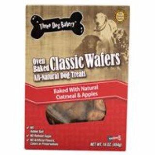 Three Dog Bakery Classic Wafers Apple Oatmeal, Baked Dog Tre