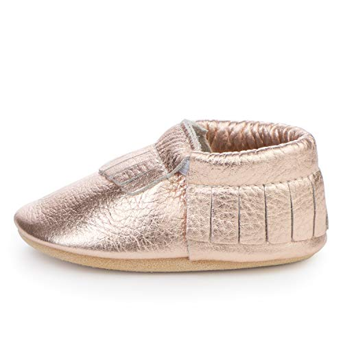 (BirdRock Baby Moccasins - 30+ Styles for Boys & Girls! Every Pair Feeds a Child (US 9.5, Rose Gold))