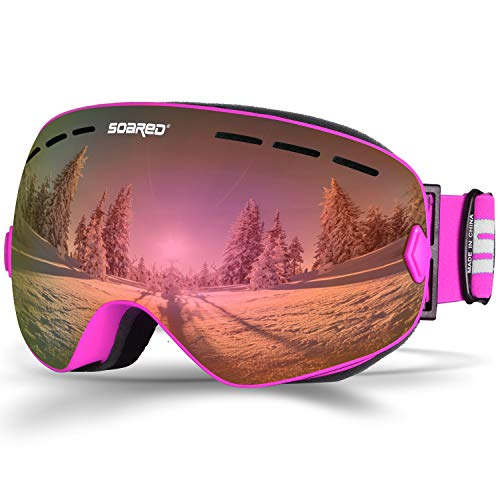 Soared Ski Snowboard Goggles Winter Snow Glasses Double-Layer Spherical Lenses UV400 Anti-Fog OTG Eyewear for Men Women Pink (Snowboard Bag Pink)