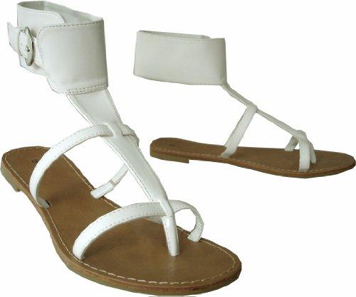 Ladies High Collar Strappy Summer Flat Sandals - Black Or White White 3mW4e
