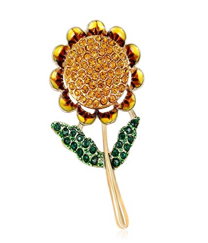 Vertily New Sunflower Brooch Fashion Multicolor Rhinestone Brooch Vintage Copper Jewelry Brooch for Men Stylish Latest Party Casual Designer Fancy - Copper Brooch Vintage