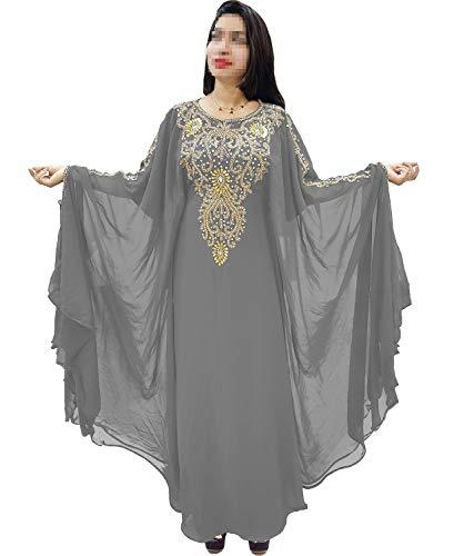 African Boutique Dubai Kaftan for Women Beads Work Maxi Dress Gown Formal Chiffon African Wear -