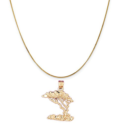14k Yellow Gold Cedar Tree Pendant on a 14K Yellow Gold Curb Chain Necklace, 16'' by Eaton Creek Collection