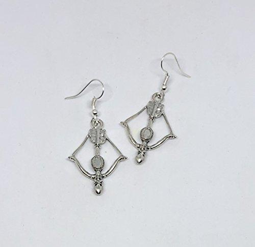Handmade silver tone Bow and Arrow Crossbow earrings on french hook wires - Cupid Earrings (Earrings Hook French Cross)