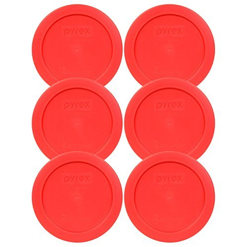 Pyrex 7200-PC Red Round 2 Cup Storage Lid for Glass Bowl (6, Red) ()
