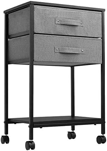 KINGSO Nightstand 2 Drawer Dresser Industrial End Table