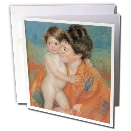 3dRose Set of 12 Greeting Cards, Woman with Baby, C 1902 by Mary Cassatt (gc_169711_2)