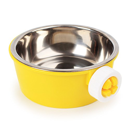 iChoue Removable and Adjustable Hanging Pet Bowl Animal Water Food Bowl for Cage Carrier - (Golden Edge Rim)