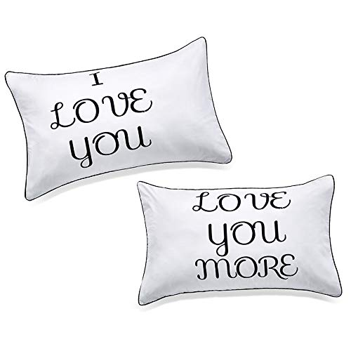 DasyFly I Love You and Love You More Couples Pillowcases,Love Gifts for Boyfriend Girlfriend,His Hers Gifts for Couples For Him and Her in Love,Perfect Gifts for Wedding,Engagement,Valentine's Day