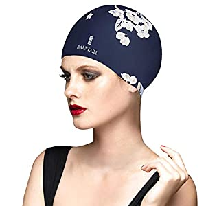 BALNEAIRE Silicone Long Hair Swim Cap for Women,Waterproof Hand Painted Flower Swimming Cap