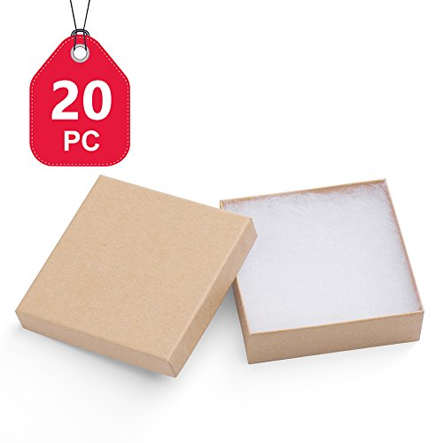 MESHA Jewelry Boxes 3.5x3.5x1 Inches Paper Gift Boxes #33 Natural Brown Cardboard Bracelet Boxes with Cotton Filled Pack of 20