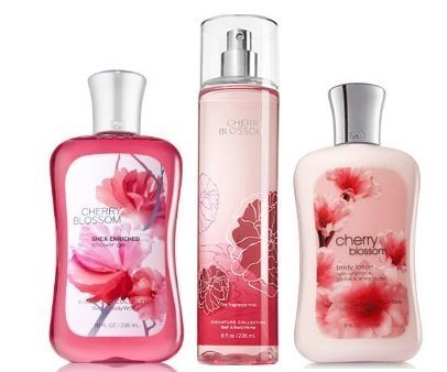 Bath & Body Works Signature Collection Cherry Blossom Gift Set ~ Shower Gel ~ Body Lotion & Fragrance Mist. Lot of 3