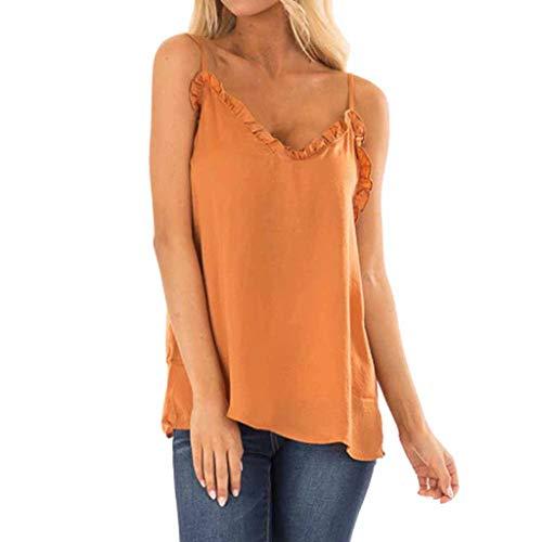 ERLOU Women's Summer Chiffon Sexy Spaghetti Straps Ruffles V Neck Sleeveless Vest Tunic Tank Top Loose Blouse T-Shirt (Orange, L)