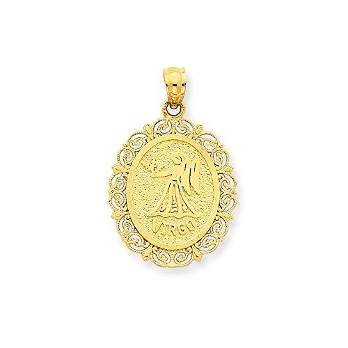 14k Gold Solid Satin Polished Virgo Zodiac Oval Pendant (0.98 in x 0.71 in)