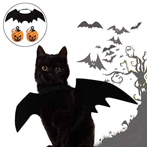 Petift Cat Costume Halloween Cats Dogs Pet Bat Wings,Pet Apparel Cat Costume,Black Vampire Wings Fancy Dress 2pcs Pumpkin Bell,DIY Thanksgiving Decorations Ornament Jewelry Charms Pendant Kitty,Puppy ()