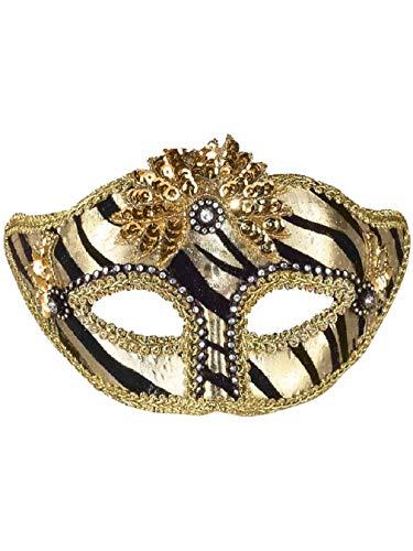 Deluxe Black Gold Zebra Rhinestone Gem Venetian Eye Mask -