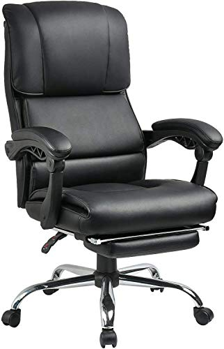 Big and Tall 400 Lbs Executive Office Desk Chair Computer Chair High Back PU with Lumbar Support Headrest Footrest Swivel Chair for Women Men Adults,BIFMA Certified