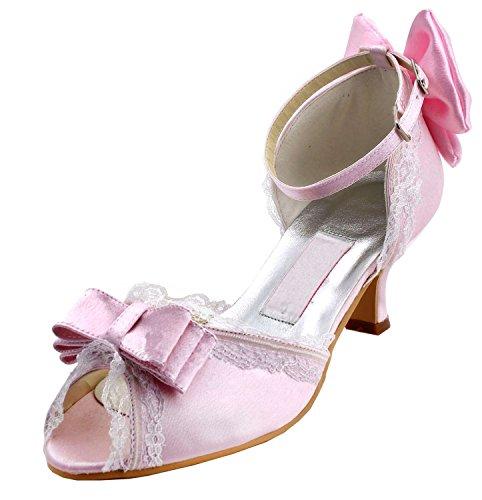 Kevin Fashion Ladies Peep Toe Stiletto talón para novia boda satén zapatos sandalias Rosa
