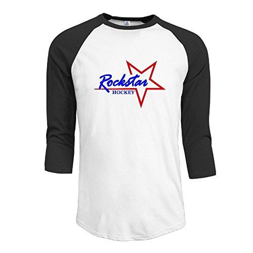 MYDT1 Men's Rock Star Hockey 3/4 Sleeve Baseball T Shirts/Short Sleeve/Top/Tee
