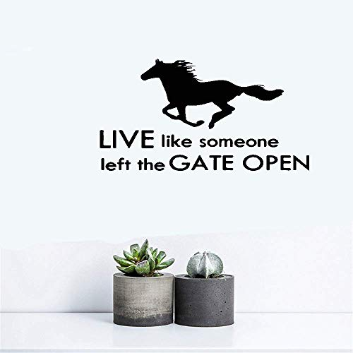 Traies Vinyl Wall Decals Quotes Sayings Words Art Deco Lettering Inspirational Live Like Someone Left The Gate Open for Living Room Bedroom Home Decor ()