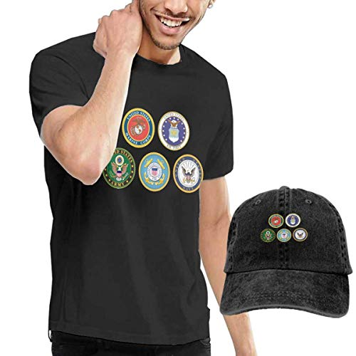 sunminey Homme T- T-Shirt Polos et Chemises Army Emblems Clipart - Branches of The Military Logos Washed Baseball-Cap… 1