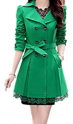 Breasted Donna Fashion Tempo Autunno Chic Windbreaker Parka Ragazza Classiche bow Inclusa Moda Cintura Grün Giuntura Tie Primaverile Lunga Manica Double Trench Outerwear Pizzo Alla Libero Cappotto Eleganti X0qraX