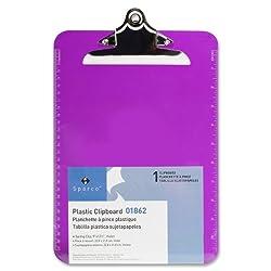 S.p. Richards Company Transparent Plastic Clipboard, 9 X 12-12 Inches, Violet (Spr01862)
