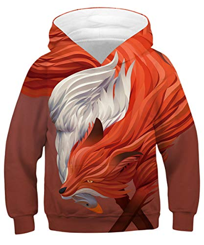 GLUDEAR Unisex 3D Printed Hooded Sweatshirt Casual Pullover Hoodie for Boys Girls,Goose & Fox,8-11 Years