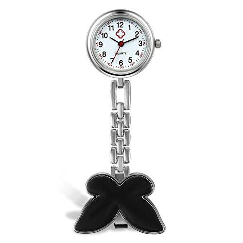 Lancardo Reloj de Bolsillo de Doctor Enfermera con Mariposa Clip Movimiento de Cuarzo Original Pulsera Delgada de Metal...