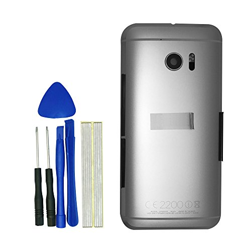 klesti Battery Door + Volume Button Power Button Camera Glass Lens Flash Light Cover Replacement for HTC One M10 (Silver) (Door Htc Battery)
