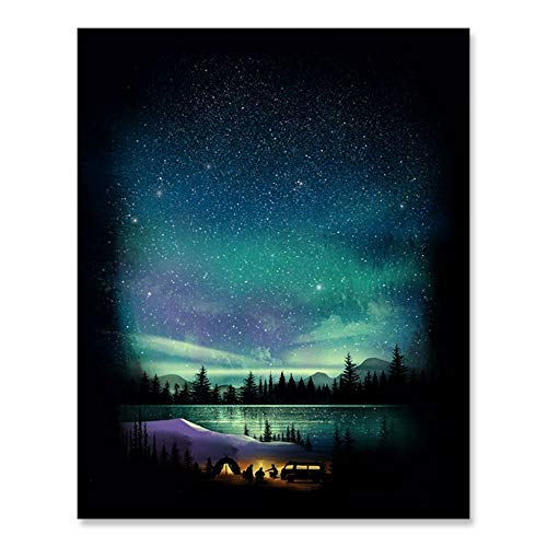 Outdoor Celestial Night Sky Inspiration Wilderness Camping Lover Art Print Aurora Hiking Campfire Van Nomad Nature Forest Trees Mountain Lake Reflection Wall Art Home Decor 8 x 10 Inches