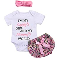 3PCS Baby Girls Worth The Wait/Daddy's Girl Print Outfit Clothes Romper Bodysuit Pants Headband Set