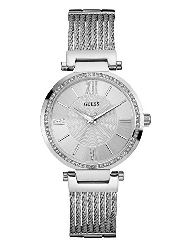 GUESS Women's Stainless Steel Crystal Accented Wire Bangle Bracelet Watch, Color Silver-Tone (Model: (Accented Bangle Bracelet)