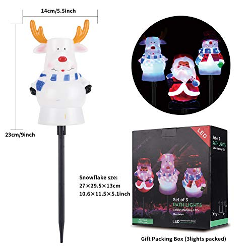 Christmas Pathway Lights Outdoor,Snowman Santa Reindeer Set LED Path Lights Garden Landscape Lights,5V Low Voltage Plug in Waterproof Holiday Decor Lamp for Patio, Yard, Lawn