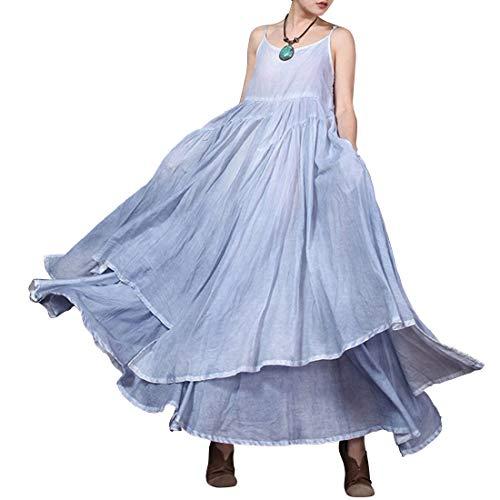 One Swing Donna Dress Maxi Irregular Strap Con TaschecolorBlueSize Da SizeBlue Spaghetti Hungrybubble K3clJTF1
