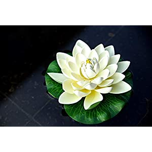 NAVAdeal 6PCS Artificial Floating Foam Lotus Flowers, with Water Lily Pad Ornaments, Ivory White, Perfect for Patio Koi Pond Pool Aquarium Home Garden Wedding Party Special Event Decoration 2
