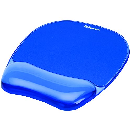 Fellowes Gel Crystal Mousepad/Wrist Rest, Blue (91141)