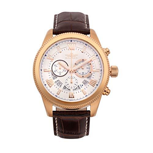 (Balmer E-Type Chronograph Mens Watch - Silver Dial, Brown Croco Leather Strap, IPRG)