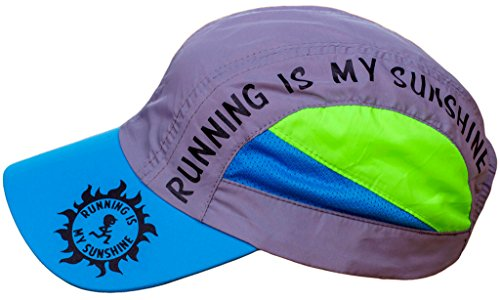 RUNNING IS MY SUNSHINE Hat - Running Race Day Cap, Premium Ultra Lightweight, High Visibility, Reflective Safety Colors, Quick Dry, Adjustable Jogging Outdoor Sports Cap