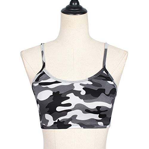 Women's Camisole Sleeveless Tank Top Ladies Summer Crewneck Camouflage Sexy Casual Shirts Solid Blouse Tops