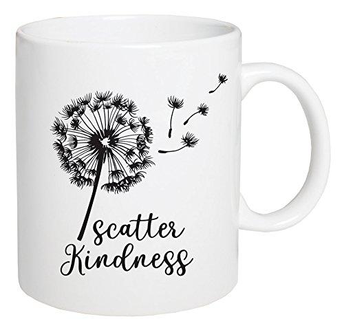 P GRAHAM DUNN Scatter Kindness Dandelion White 5.5 x 4.5 Ceramic 15 Ounce Coffee Mug