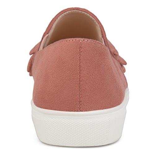 Brinley Co Womens Faux Suede Slip-On Ruffle Sneakers Mauve pHniBULz