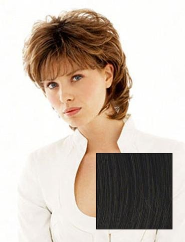 Salsa Avg Cap Wig  Color R2 EBONY - Raquel Welch Wigs Women's Layered Pageboy Cut Synthetic Memory Cap Shag